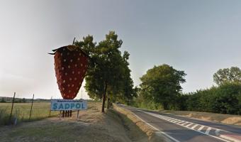 Opuszczona gigantyczna nawiedzona truskawka w środku lasu,